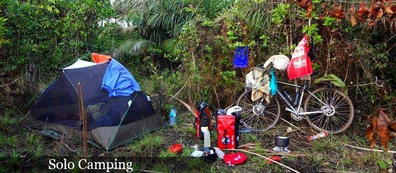 solo camping in a jungle