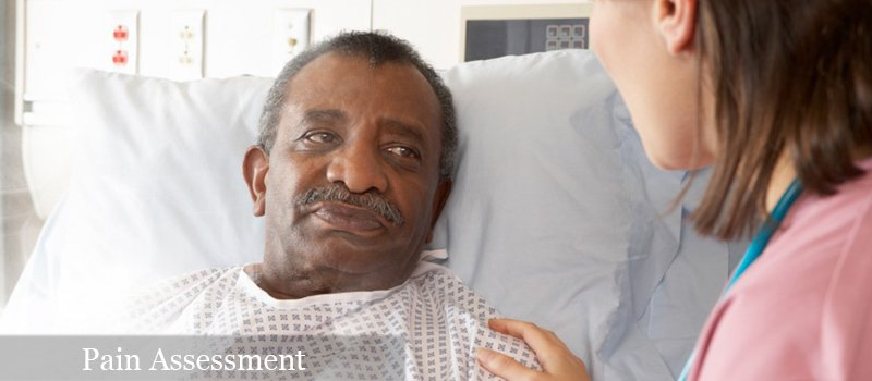 nurse talking to patient for pain assessment